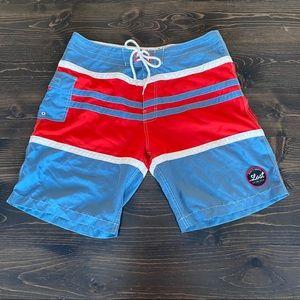 Men's Lost Blue/White/Red Stripe Swim Trunks 36